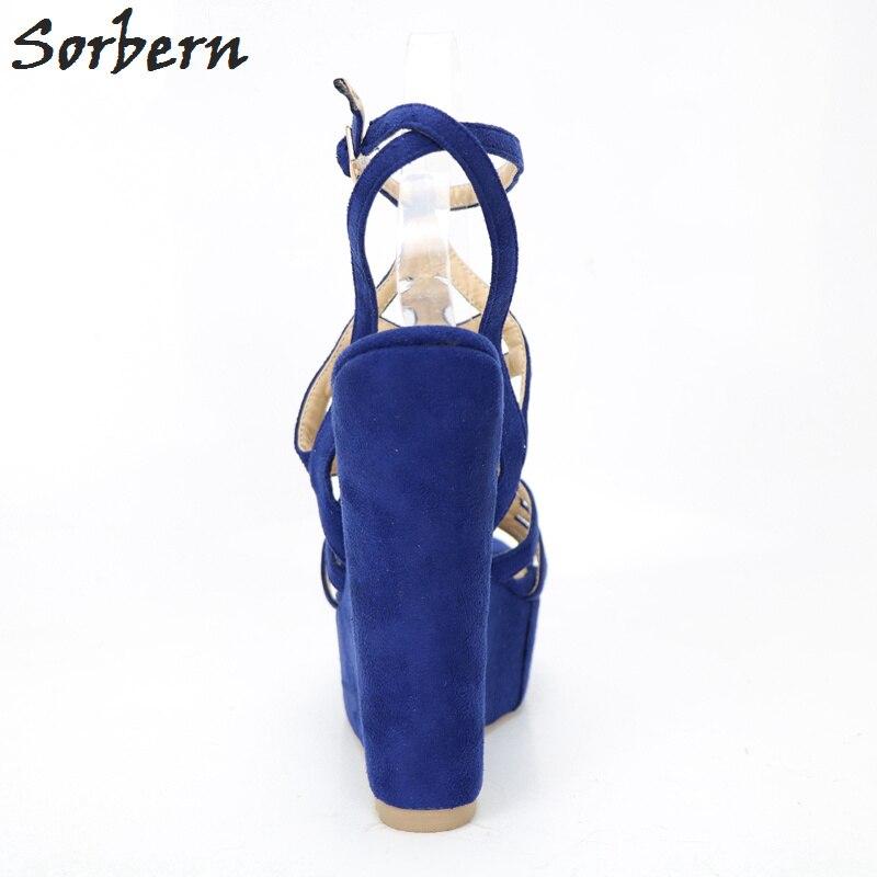 Ouvert Sandales Mesh Hauts Sangles Personnalisé custom Coins Cheville Femmes Blue Talons Chaussures Sorbern Bleu Wedge Bout À Dames Color Pour Cw7SFqt8x