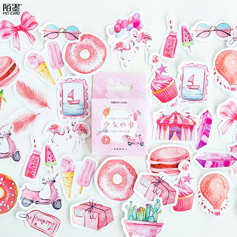 45 Pcs/box Pink Girl Essential Products Mini Paper Sticker Decoration DIY Diary Scrapbooking Seal Sticker Kawaii Stationery