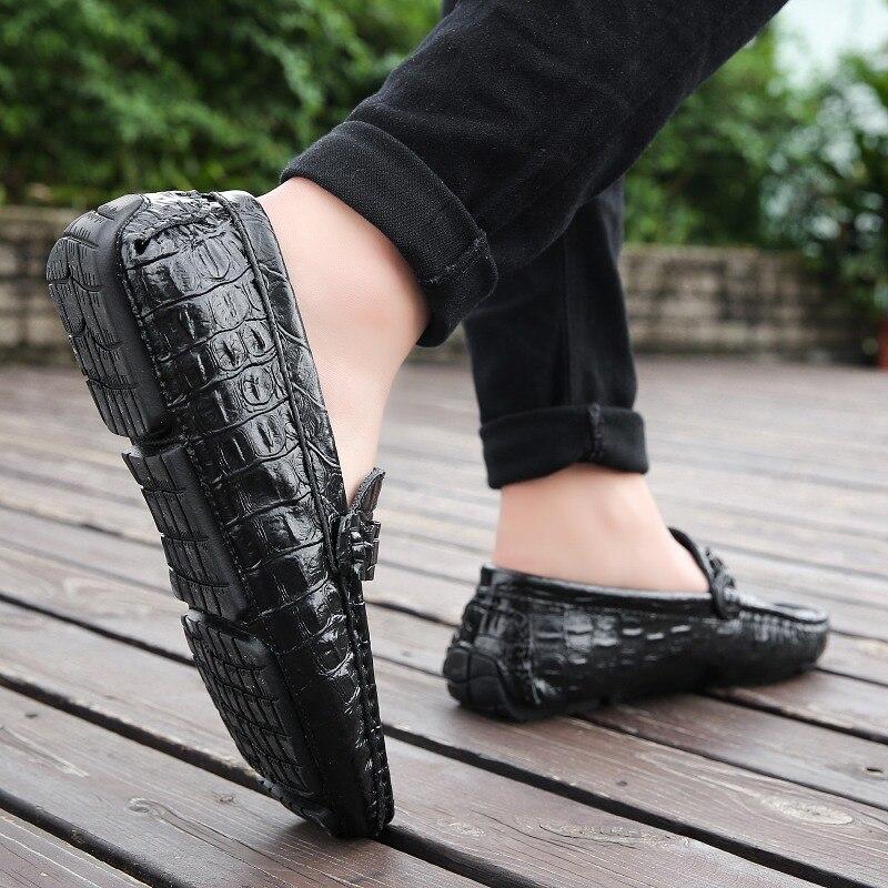 Mocassins Mode Respirant Noir Peau Marque Hommes Chaussures De Masculino En Northmarch marron blanc bleu Couro Bureau Mocassim Cuir Crocodile 1EXqARwx