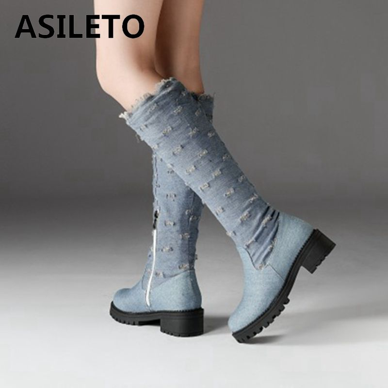 denim boots low heel