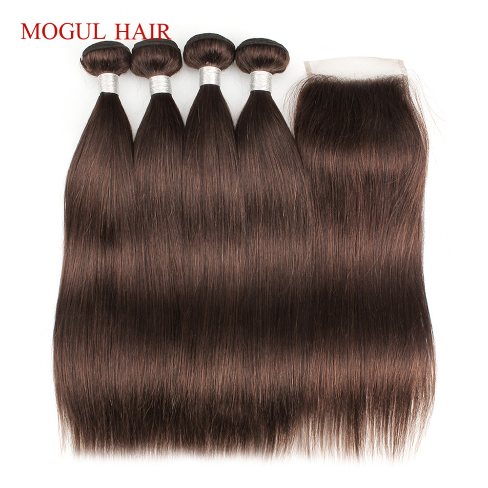 MOGUL HAIR Color 4 Chocolate Brown 3/4 Bundles with Closure Peruvian Straight Hair Bundles 12-24 inch Remy Human Hair Extension
