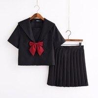 Japanese Women Girls Black JK Uniform Dress School Uniform Sailor Suit Short Sleeve Shirt Pleated Skirt Suit with Tie and Socks