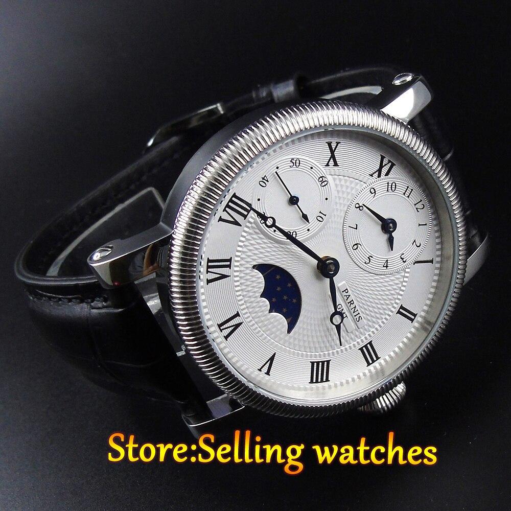 42mm parnis cadran blanc GMT Phase de lune mouvement de remontage à la main montre hommes