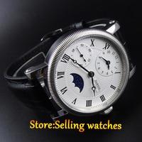 42mm parnis weiß dial GMT Mond Phase handaufzug bewegung herren uhr-in Mechanische Uhren aus Uhren bei