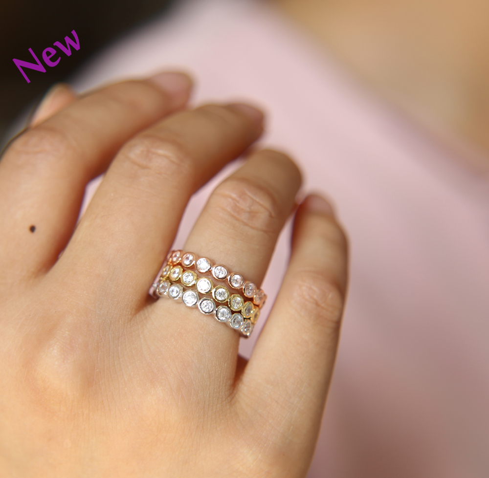 Fashion Stackable Rings Aaa Cz Costume Jewelry Rose Gold And Silver Color  Luxury Cubic Zirconia Wedding