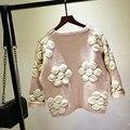 Осень Зима Утолщение Пуловеры Цветок 3D Florals Отпечатано Свитер Свободные Трикотажные Свитера Женский Милый Оксфорд Дамские Пуловеры