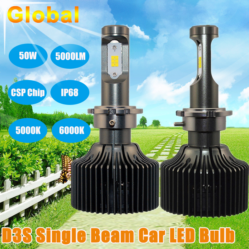 2PCS Energy Saving Car LED Headlight Bulb D3S D3R Single Beam for Korea CSP Chip 5000