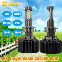 2 UNIDS Ahorro de Energía LED Linterna Del Coche Bombilla D3S/D3R Solo Haz para Corea Del CSP Chip 5000/6000 K 50 W 5000LM Linterna Del Coche de Repuesto