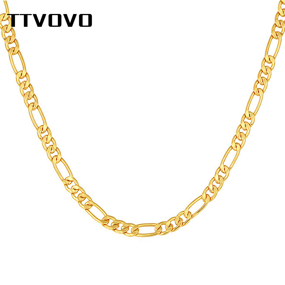 TTVOVO Men's Gold Filled Figaro Chain Necklaces For Men Women 5MM Wide Cuban Curb Link Chain For Pendant Hip Hop Jewelry Gifts