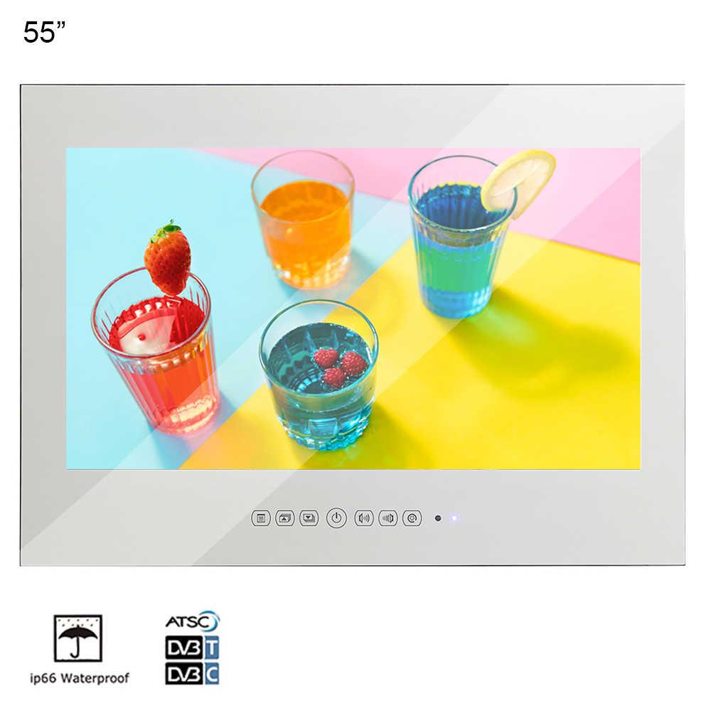 Souria 55 بوصة مرآة سحريّة إضاءة مقاومة للماء تلفزيون مع شاشة عرض كبيرة جهاز تلفزيون يُثبت على الحائط