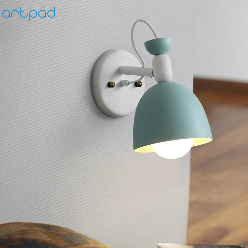 Artpad Modern Simple LED Indoor Wall Lamps Metal Sconces E27 Base Adjustable Children Bedroom Bedside Lamp On the Wall
