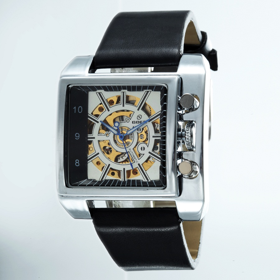 GOER brand Automatic mechanical male Wrist watch Digital Square Watches Men s Watches Leather waterproof Luminous