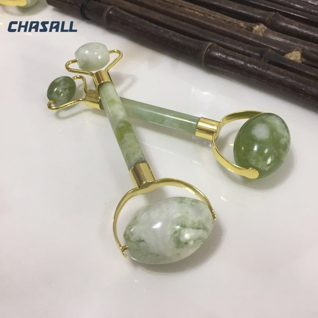Chasall Facial Massage Roller Real Natural Jade Stone Drop Shipping Face Neck Body Skin Slimming Massager Health Care Relaxation 2