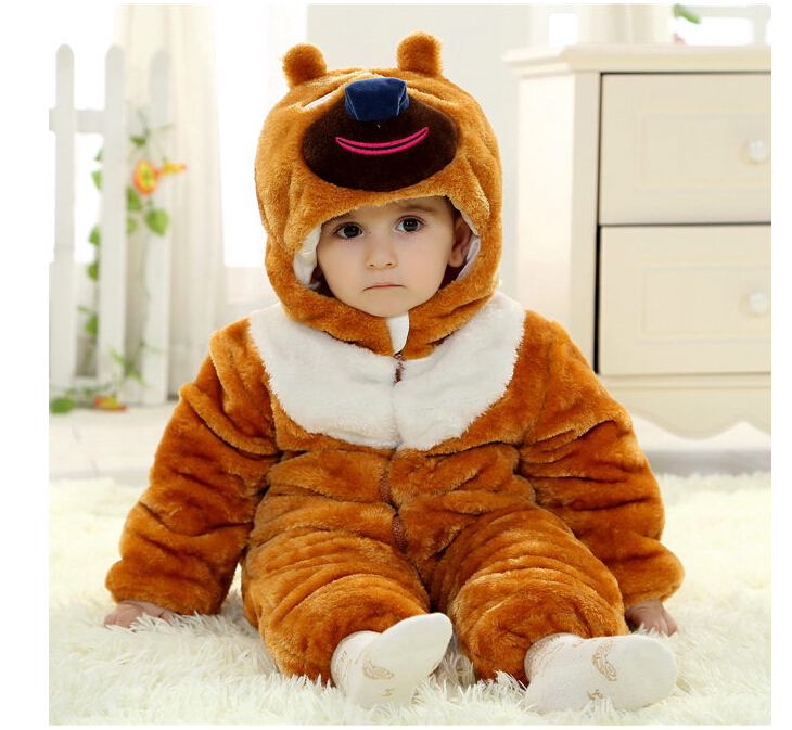 ФОТО Baby Clothes Winter Baby Rompers Infant Boys Girls Jumpsuit Cartoon Animal Rompers Thick Cotton Baby Clothing for 0-3 years