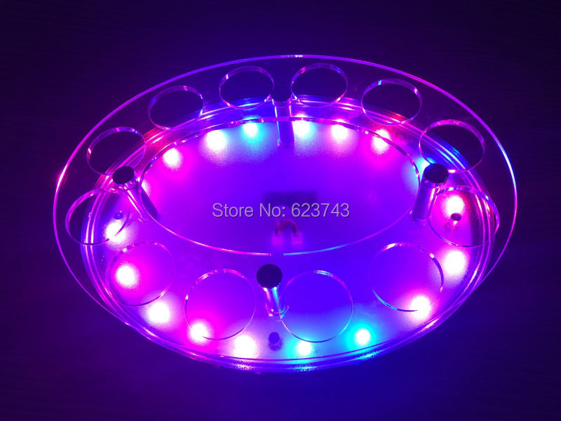 12-Bottle Shot Glass roundel Tray Bullet Cup Holder colorful LED rechargeable light up Wine cups rack bars ice buckets
