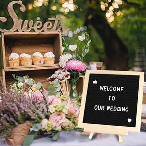 Image 5 - OurWarm DIY tablero de mensajes rústico de madera de boda soporte de barra de dulces caja de anillo caja de anillos obsequios para los invitados regalos de fiesta y boda decoración