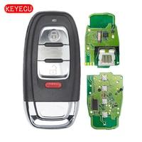 KEYECU Fob 3 + 1 Botão Inteligente Remoto Chave 315 MHz para Audi A1 A3 A4 A5 Allroad A6 A7 A8 Q3 Q5 Q7 S3 S4 S5 S6 S7 P/N IYZFBSB802