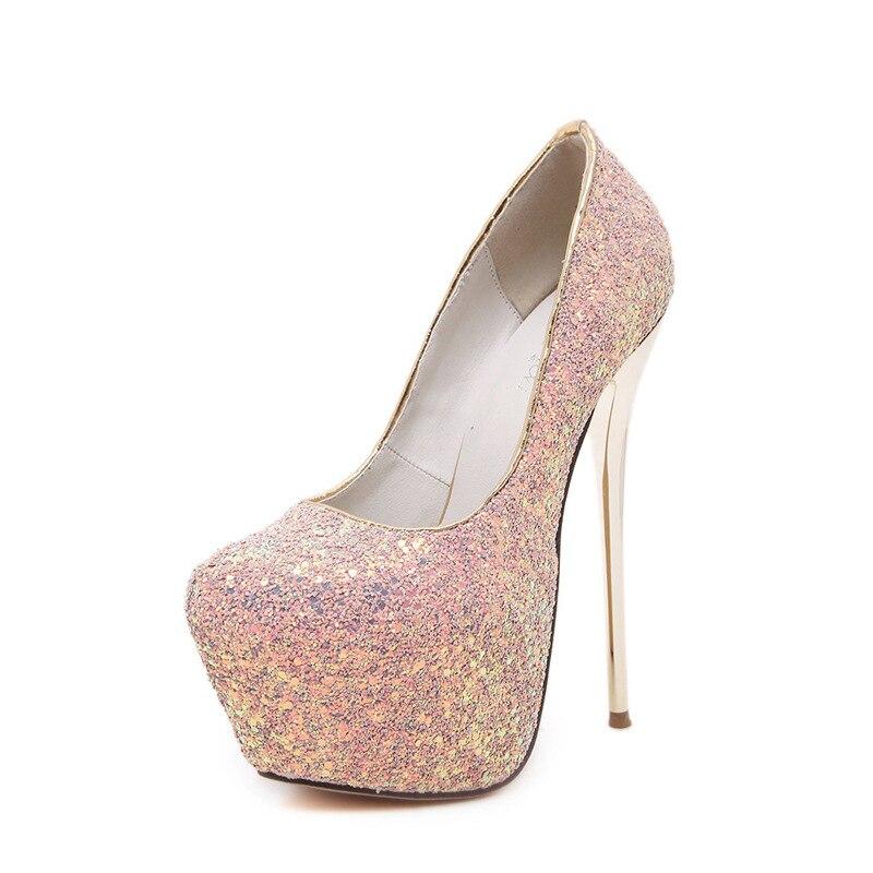 New women high heel pumps bling fashion sexy party shoes thin heel height 16 cm slip on wedding heels brand platform 5 cm female basic pump