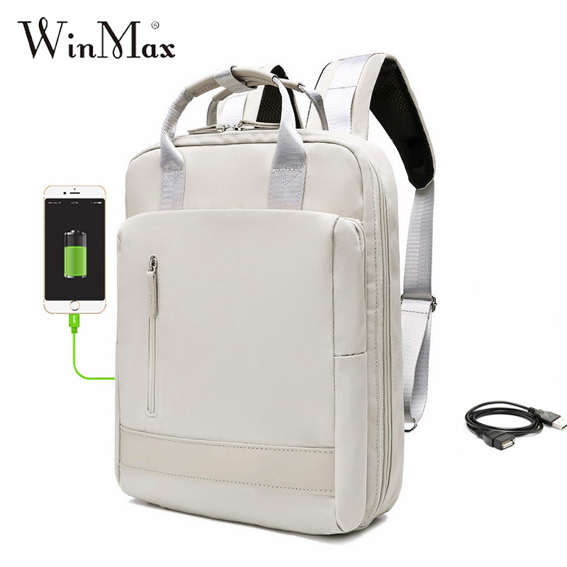 USB Charging Women Men Travel Backpack Large Capacity Teenager Mochila Back Anti-thief Bag 11-15.6