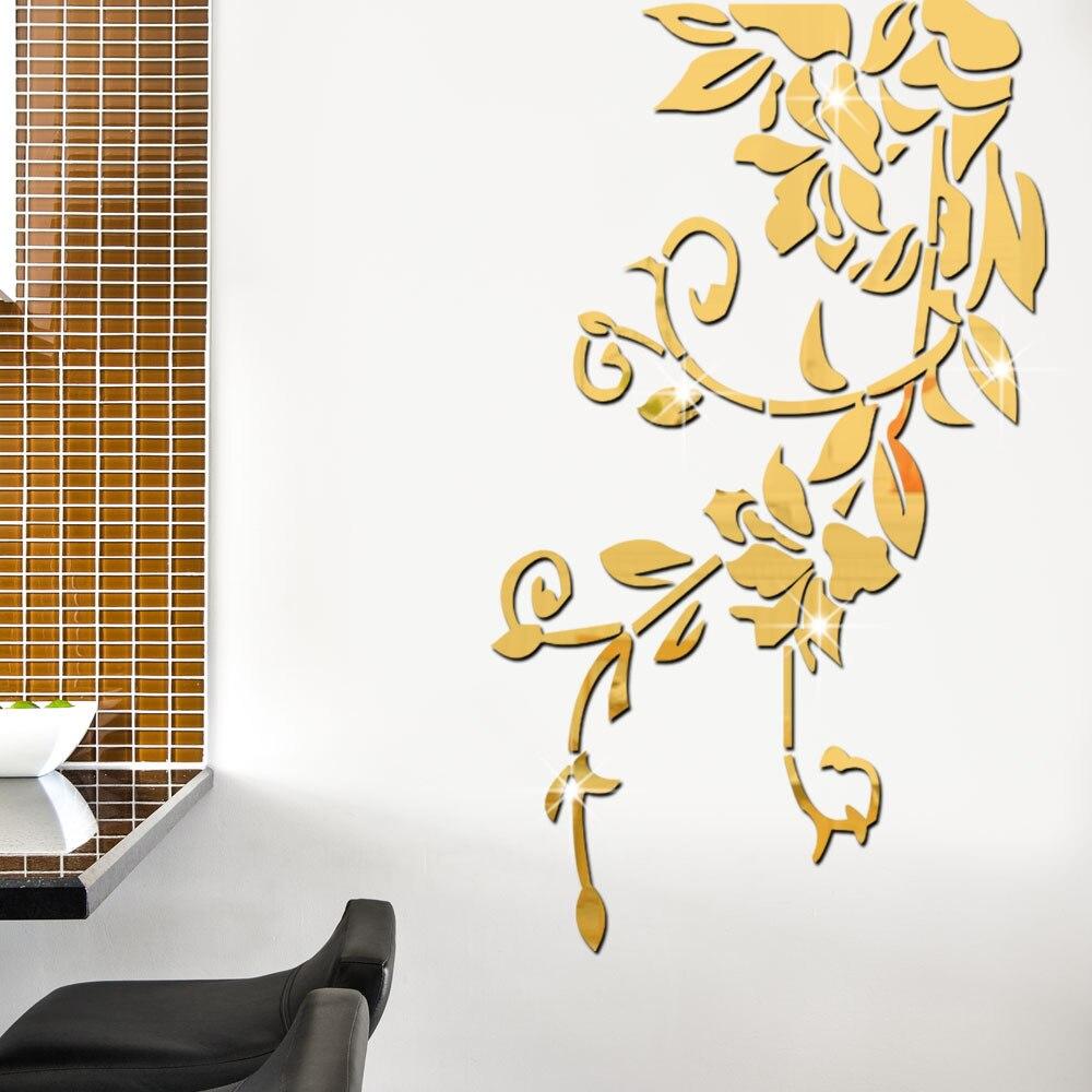 Fleurs bricolage arbre 3D miroir décoratif mur autocollant maison Salon mur décor chambre Salon décoration mur Art affiche