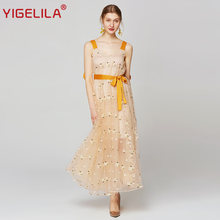 Женское Сетчатое платье yigelila длинное облегающее на тонких
