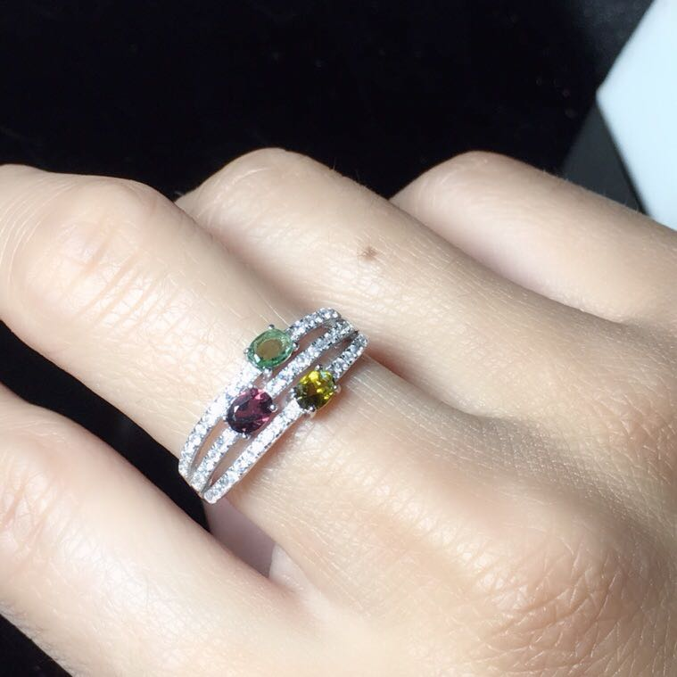 Tourmaline ring Natural real tourmaline Free shipping 925 sterling silver Fine gem 3*4mm 3pcs natual tourmaline charms pendant free shipping 925 sterling silver natural real tourmaline