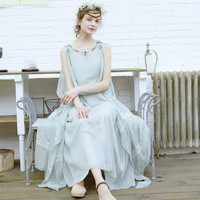 Red Bean Paste Grey Irregular Big Beautiful Fairy Skirt Lace Embroidery Flowers One Piece Dress