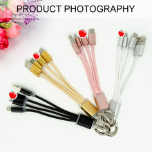 keyring For iphone cable 3 In 1 USB Charger Cable Metal  Cord Key Chain IPhone Fo Android 13.5cm