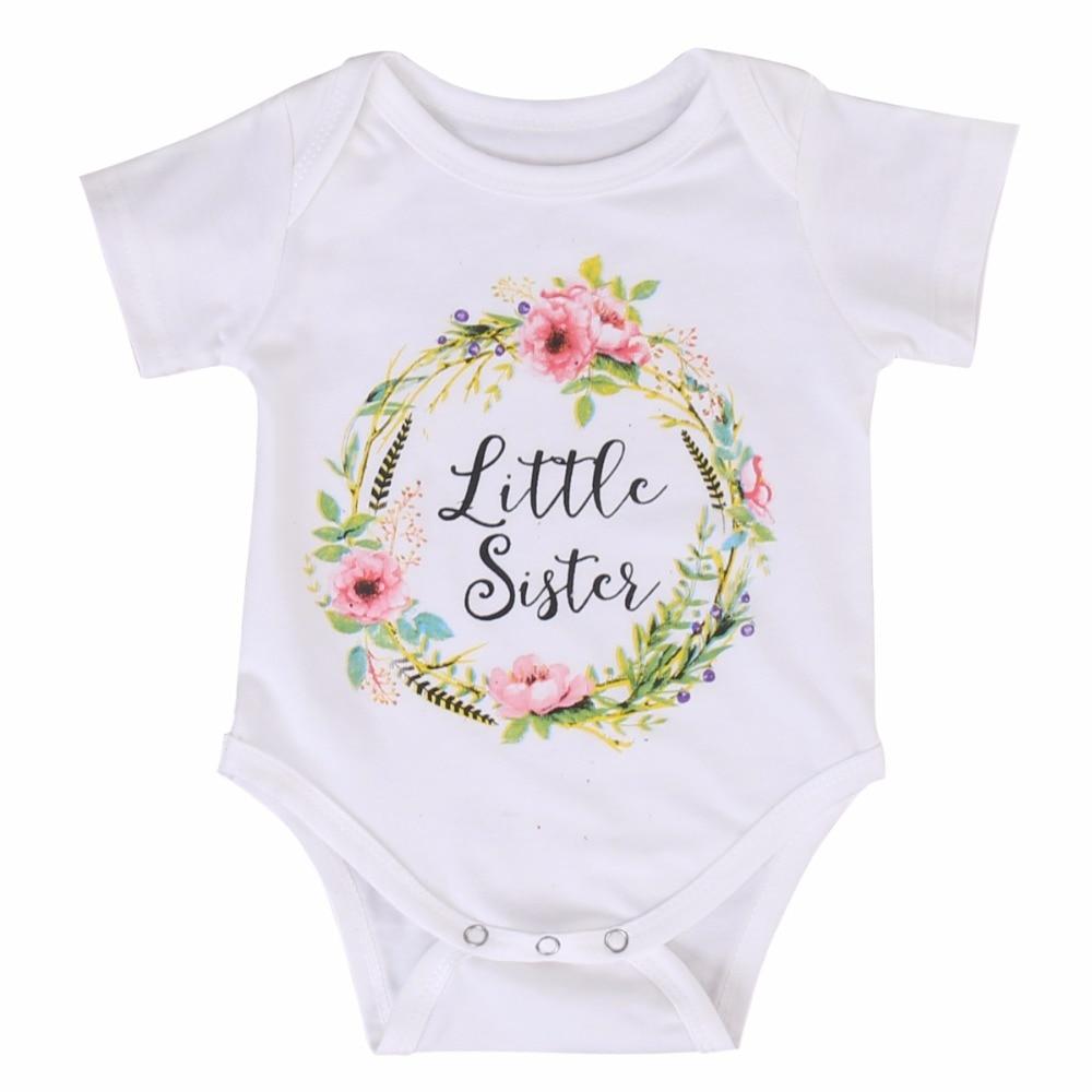 Little Sister Romper zomer Baby meisje kleding brief afgedrukt - Babykleding