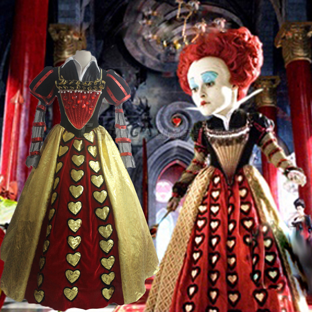 Movie Alice in Wonderland cosplay Red Queen of Hearts Costume Fancy Dress for adults Cosplay Custom