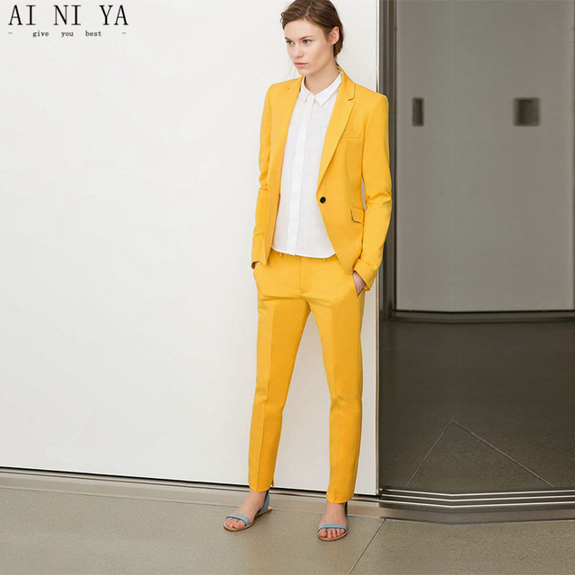 Yellow Womens Business Suits Women Evening 2 Piece Pant Suits Female Office Uniform One Button Ladies Formal Trouser Suits