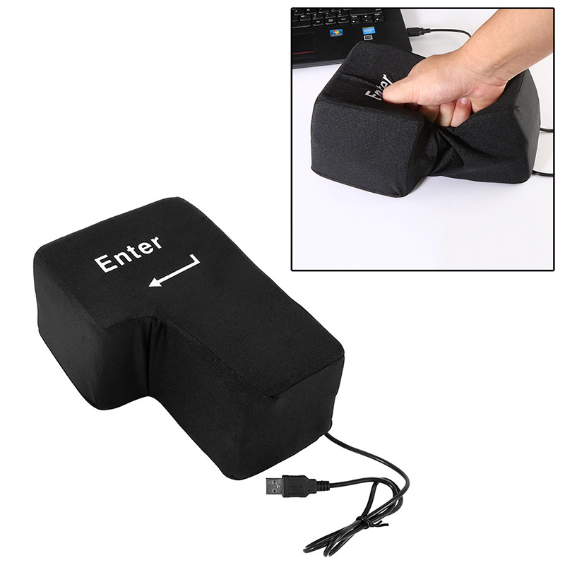 USB Big Enter Key Anti Stress Relief Supersized Enter Key Office Desk Foam Nap Pillow Stress Reliever Hand Rests