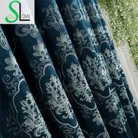 Slow Soul Blue High End Chenille Europe Embroidered Curtain Curtains For Living Room Villa Bedroom Tulle