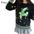 2017 New Autumn Winter Fashion Women Knitted Sweater High Quality Bird Embroidery Cashmere Sweaters Jumper Pullovers Pull Femme