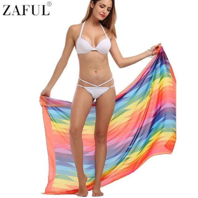 6fd745abe57d9 ZAFUL 2017 New Beach Geometric Cover Up Brighten Rainbow Print Bikini Cover  Up Women Bathing Suit Saida De Praia Pareo Beach Mat