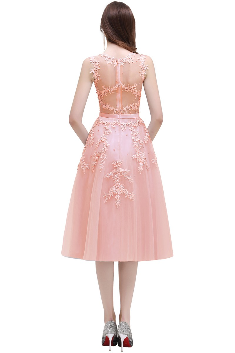 Pink Beaded Lace Appliques Short Knee Length Evening Bridesmaid Dress 2