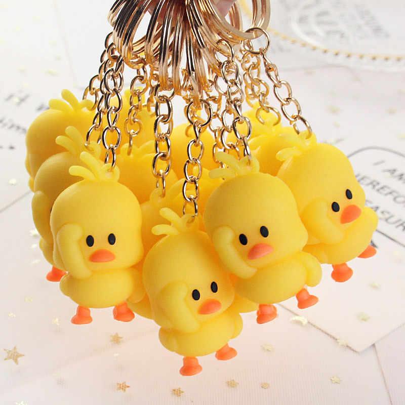 2019 lindo pequeño llavero con forma de pato amarillo vibración pequeño pato amarillo bolsa de muñeca coche ornamento unisex llaveros Accesorios