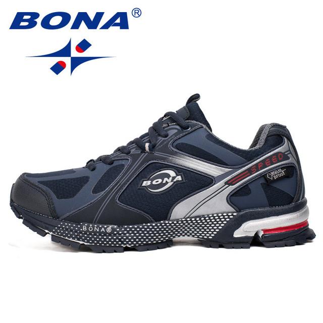 BONA nuevo estilo impermeable zapatos para correr para hombre zapatillas para caminar con cordones zapatos deportivos cómodos luz rápida envío gratis