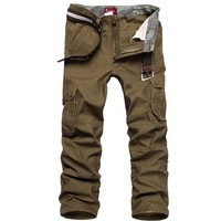 Factory Base Price Men Cargo Pants Military Army Pants More Pockets Zipper Trousers Outdoors Casual Big