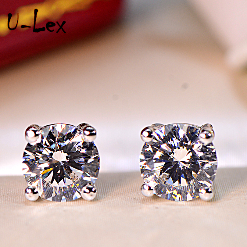 ULex 1Ct Korean Earrings Party Wearing Round High-Carbon Diamond Stud Earrings 925 Sterling Sliver Jewelry For Women Men E04 pe hagit fashion 1 pair round shape vintage stud earrings for man trendy party black earrings jewelry men
