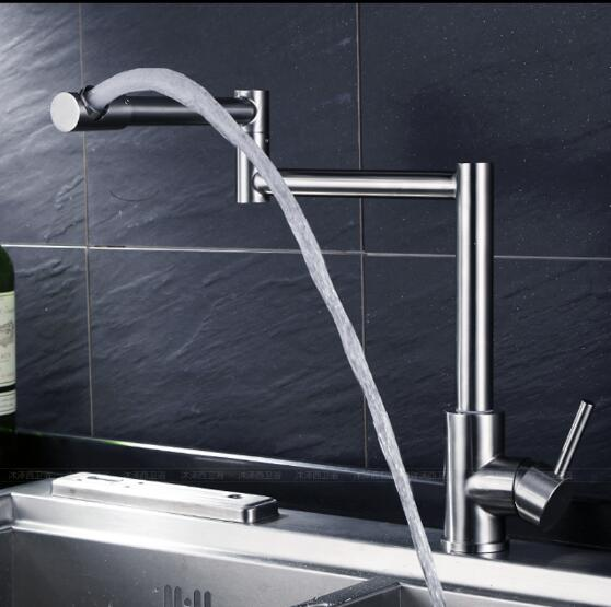 Hot & cold single lever hot and cold foldable kitchen faucet Swivel Brushed Nickel Kitchen mixer Water tap sink faucet new arrival top quality brass hot and cold single lever kitchen sink faucet tap kitchen mixer