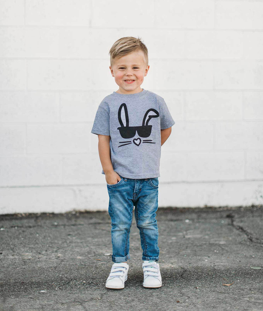2019 Fashion Mother and Son Matching Clothes Bunny T-shirt Summer Tops Toddler Baby Girls Boys Clothing Family Matching Outfits 1