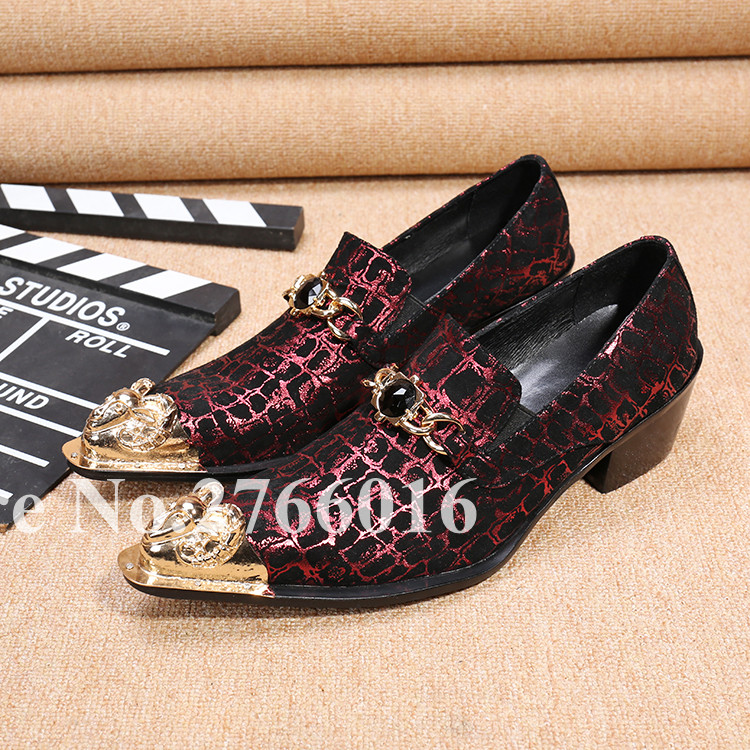 2017 Newest Spring Autumn Top Selling Gingham Leather Metal Decor Pointed Toe Men Shoes Buckle Crystal Slip On Sapatos 38-46