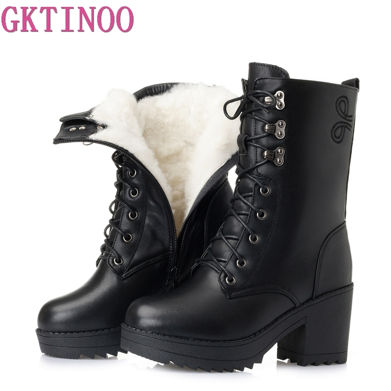 GKTINOO High Heels Genuine Leather Women Winter Boots Thick Wool Warm Women Boots High Quality Lace
