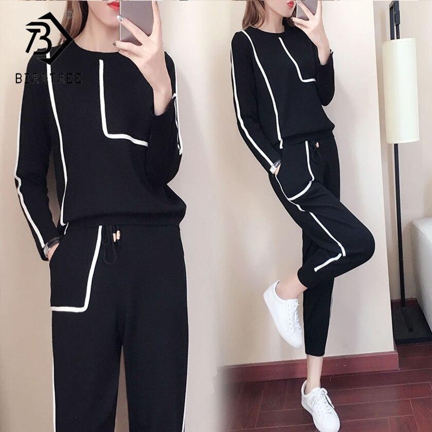 2018 осень новое поступление Женская мода модные комплекты Вязание топы и милые длинные штаны комплекты из двух предметов Hots S87029L