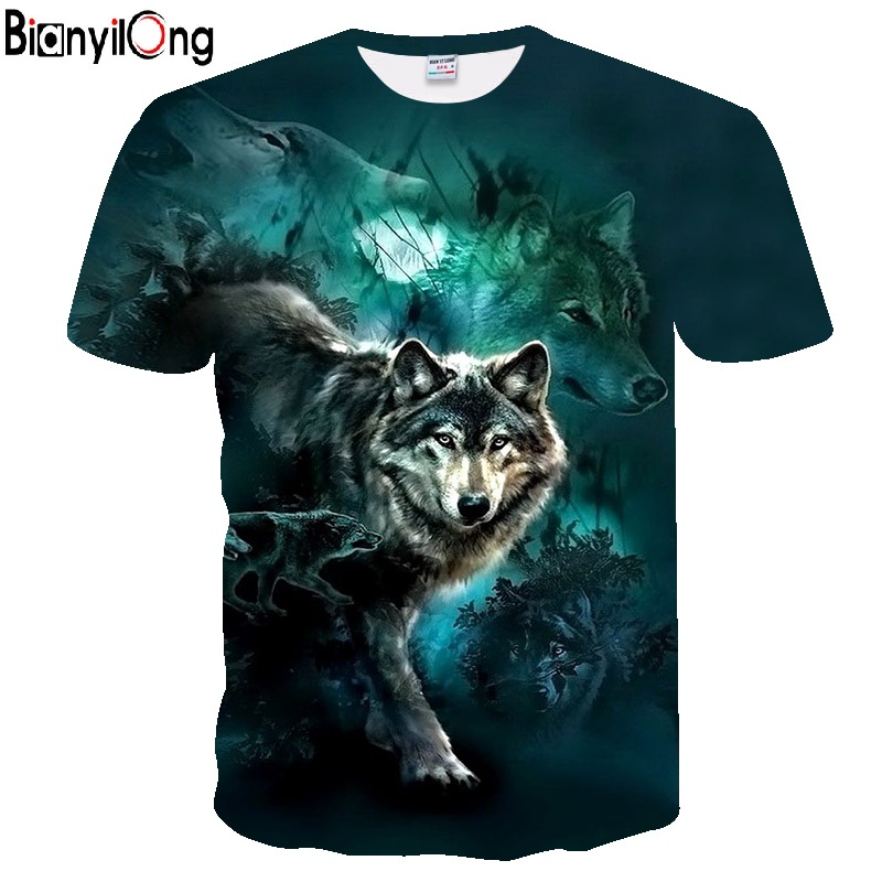 BIANYILONG 2018 men   t     shirt   Wolf print   T     shirts   3D Men   T  -  shirts   Novelty Animal Tops Tees Male Short Sleeve Summer O-Neck Tshirts