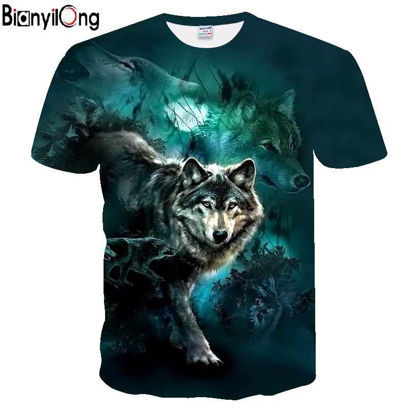 BIANYILONG 2018, Мужская футболка с принтом волка, футболка s 3D, мужские футболки, новинка, животные, топы, футболки, мужские, короткий рукав, летние, с круглым вырезом, футболки