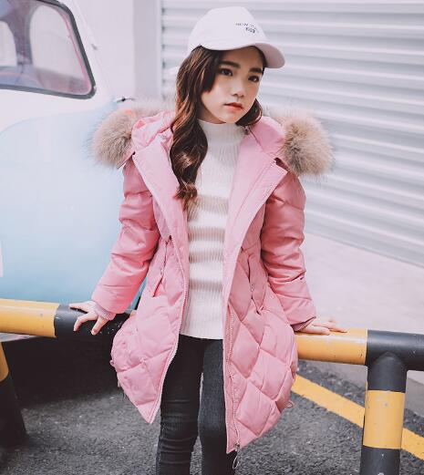 Girls Duck Down Jackets 2018 New Winter Children Clothing Girl Long Outerwear Kids Fur Collar Hooded Warm Coats Parka weixu fashion girls winter coat kids outerwear parka down jackets hooded fur collar outdoor warm long coats children clothing
