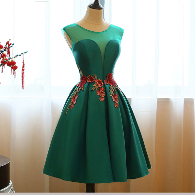 Dark Green Embroidery Short   Prom     Dresses   2018 Vintage Mini Ball Gown Satin   Prom   Gowns Short Sleeves