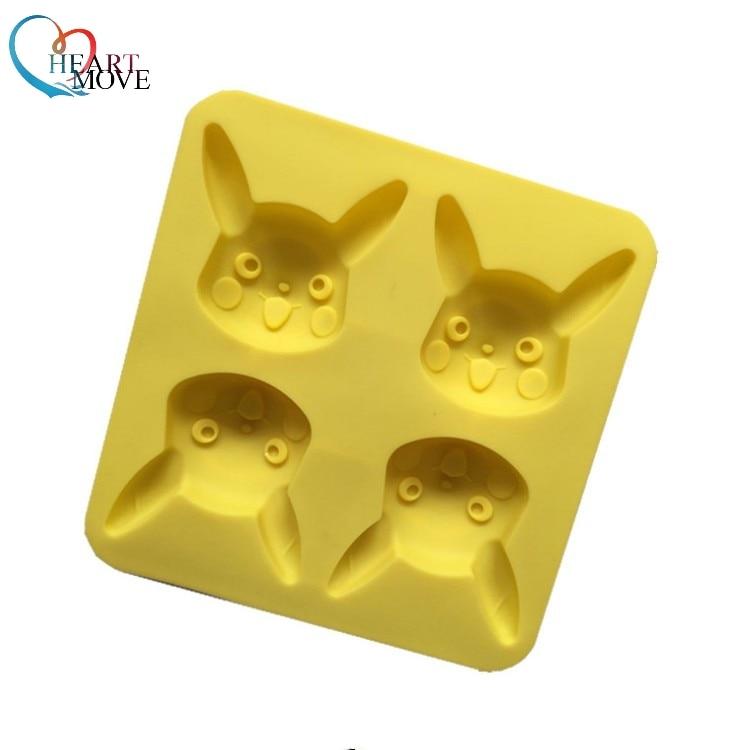 HEARTMOVE 4 Hole Pikachu Rabbit Chocolate Mold DIY Molds FDA Safe Ice Cube Mould Cartoon Silicone Chocolate Mold Cake Mold 9929